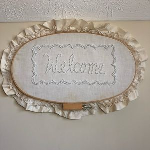 Vintage Hand Embroidered Lace Welcome Sign